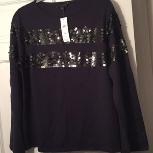 NWT Ann Taylor dark blue sweater w/ black sequins